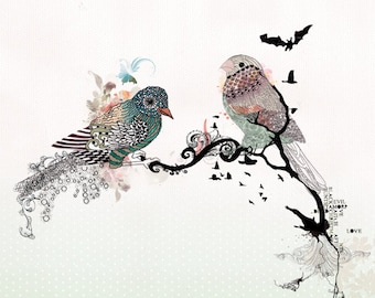 Love birds art, Pen and ink art, Bird illustration, Love birds painting, Colorful