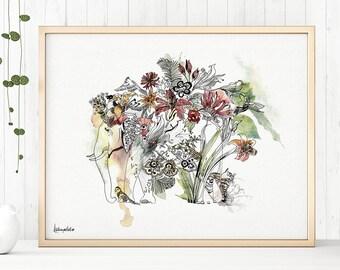 Modern Boho Art, Elephant Art Print, Bohemian Art, Indian Art, Elephant Artwork, Elephant Painting, Elephant Wall Decor, Indian Wall Art