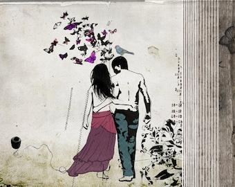 Digital print, Vintage fine art print, Love couple paintings, Wedding gift