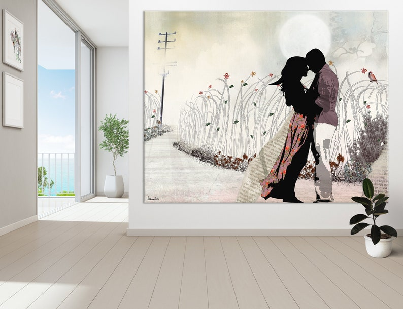 Large Wall Art Love Painting Love Couple Paintings The Kiss Canvas Print