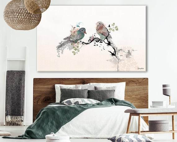 Love Birds Large Bedroom Painting, Bedroom Wall Decor, Original Watercolor  Painting, Extra Large Print, Romantic Art, Bedroom Wall art