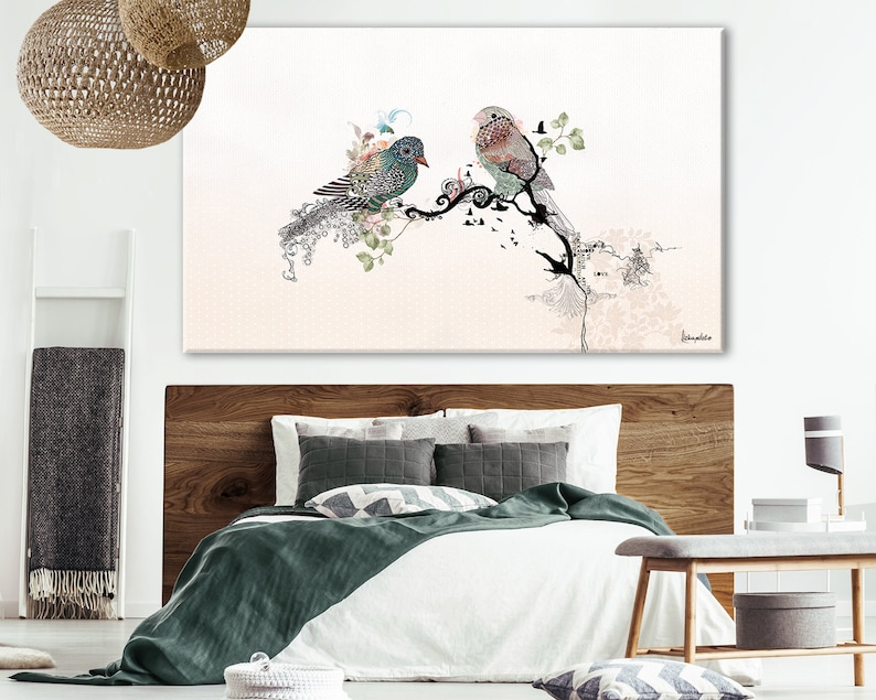 Love Birds Large Bedroom Painting Bedroom Wall Decor Original Watercolor Painting Extra Large Print Romantic Art Bedroom Wall Art