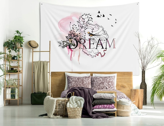 Butterfly and Record Tapestry Wall Hanging Living Room Bedroom Dorm Decor