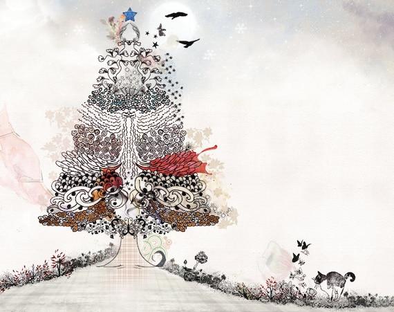 Items Similar To Tree Painting, Christmas Art Print Of