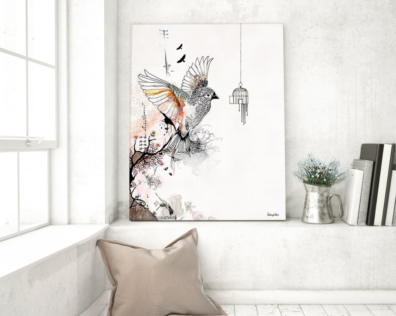 Flying Bird Print Watercolor Art Bird Watercolor Print Watercolor Wall Art Flying Bird Art Watercolor Painting Bird Cage Art Ink Art