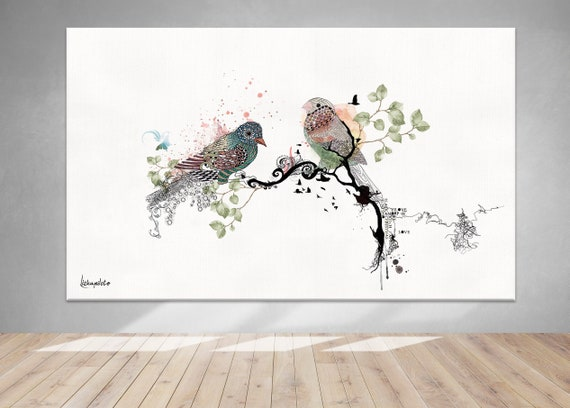 Love Birds Living Room Wall Art Large Painting Living Room Wall Decor Extra Large Wall Art Original Watercolor Painting Love Birds Art