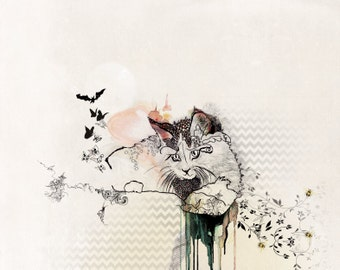 Cat Art Print, Pen and ink Art, Cat illustration, Collage Art Print, Whimsical Cat Drawing, Cat painting