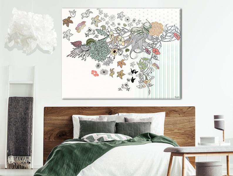 Floral Schlafzimmer Wand Kunstdruck Original Blumen Malerei   Etsy