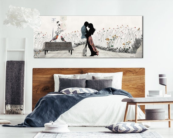 Couple in Love Painting, Bedroom Wall Art Canvas, Large Canvas Print,  Romantic Art, Large Wall Art, Bedroom Decor, Bedroom Art