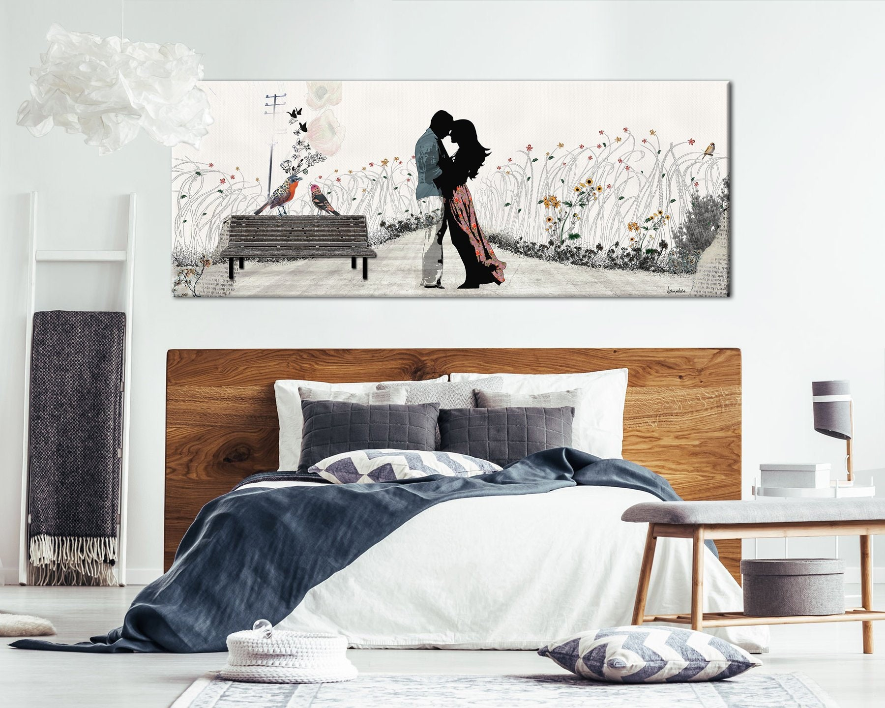 Groovy Couple In Love Painting Bedroom Wall Art Canvas Large Canvas Print Romantic Art Large Wall Art Bedroom Decor Bedroom Art Home Interior And Landscaping Palasignezvosmurscom