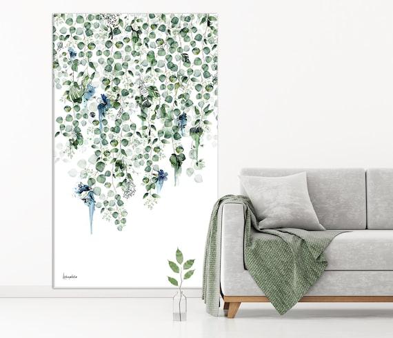 Arte de pared vertical grande, arte verde botánico, arte de pared de gran tamaño, arte botánico verde, arte de pared extra grande, pintura vertical, arte de lienzo