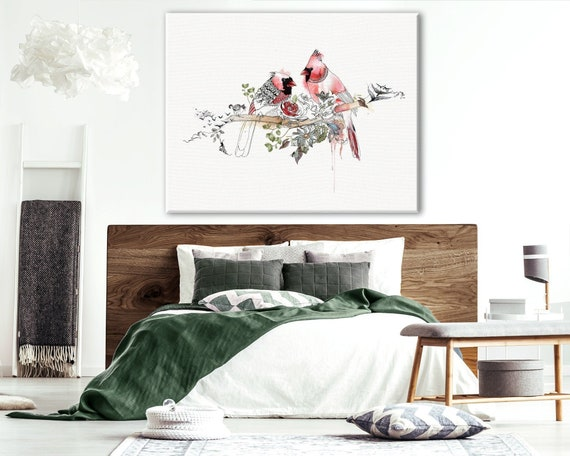 Red Bedroom Art, Bedroom Wall Art, Wall Art Decor Bedroom, Red Painting,  Romantic Wall Art, Large Print, Canvas Print, Large Canvas Art, Red