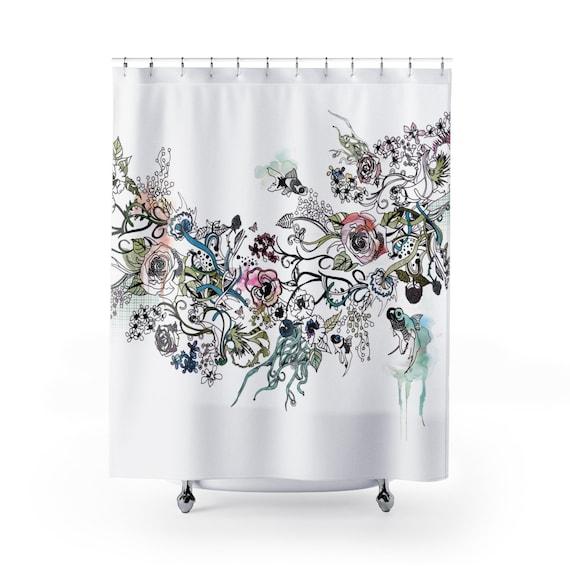 Bohemian Bathroom Decor Fish Art Shower Curtain Boho