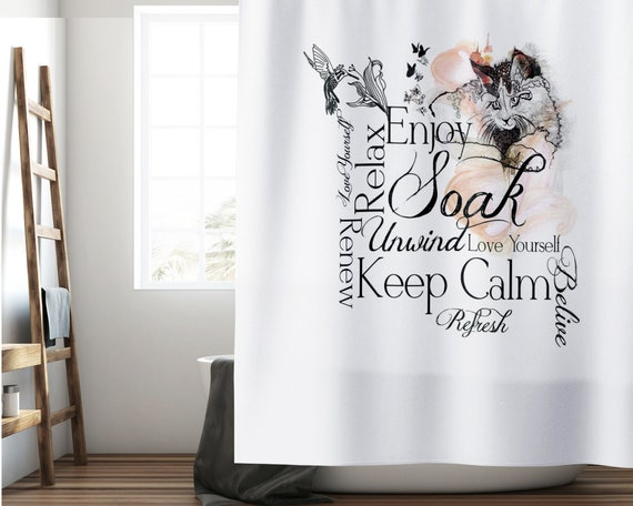 Black and White Shower Curtain, Inspirational Shower Curtain, Fabric Shower Curtain, Bathroom Decor, Cat Shower Curtain