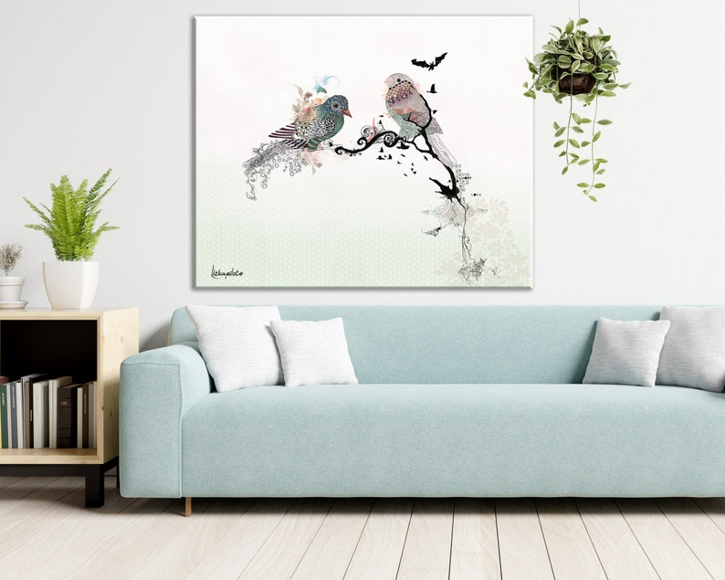 Birds Scandinavian Art Print Minimalist Painting Bird Wall Art Minimalist Art Scandinavian Wall Decor Sparrow Bird Art Bird Lover Gift
