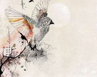 Watercolor Painting, Bird Wall Art, Original Drawing, Bird Illustration, Whimsical Flying Bird Art Print, Pen and Ink