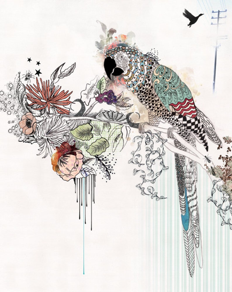 Bird art Parrot ink drawing Colorful art Collage painting image 0