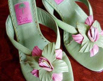 57995c0e3d86b0 Vintage Lilly Pulitzer Leather Sandals   Slides - Size 7 -Green   Pink  w Flower -Slip On Thong Sandals - 2.5