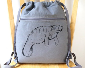 Manatee Backpack Canvas Laptop Bag Beach Bag