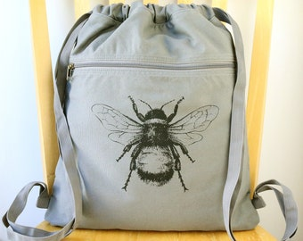 Bee Backpack Canvas Laptop Bag Cinch Sack
