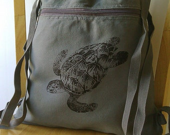 Sea Turtle Canvas Backpack Gym Bag School Bag