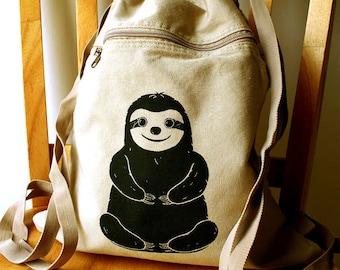 Sloth Backpack Canvas Laptop Bag Gym Bag