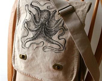 Octopus Canvas Messenger Bag Laptop Bag
