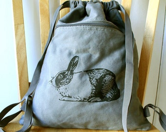 Rabbit Canvas Backpack Bunny Bag Drawstring Backpack