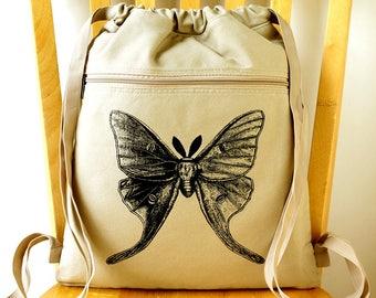 Luna Moth Backpack Canvas Laptop Bag