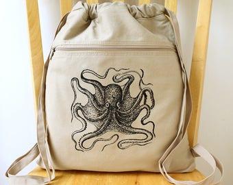 Octopus Canvas Backpack Laptop Bag