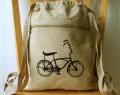 Bicycle Canvas Backpack Bike Laptop Bag Gym Bag
