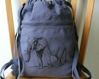 Elephant Backpack Canvas Book Bag Laptop Bag