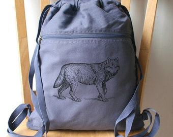 Wolf Canvas Backpack School Bag Laptop Backpack