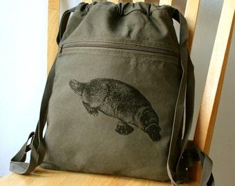 Platypus Canvas Backpack School Bag Laptop Bag