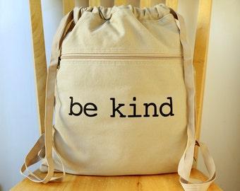 Be Kind Canvas Backpack Laptop Bag School Bag Gym Bag