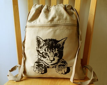 Cat Backpack Canvas Laptop Bag Kitten School Bag 09402c9c0d104