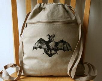 Bat Canvas Backpack Laptop Bag