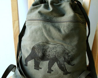 Grizzly Bear Backpack Canvas Laptop Bag Gym Bag
