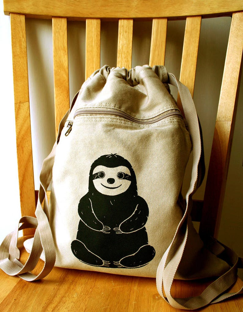 Sloth Backpack Canvas Laptop Bag Gym Bag image 0