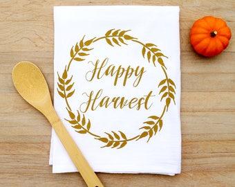 Fall Harvest Tea Towel Thanksgiving Flour Sack Towel Hostess Gift