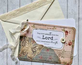 """Handmade Greeting Card - """"They That Wait..."""" - Isaiah 40:31 - Seeds of Faith - Vintage Collage Card - Greeting Card - Gifts - Faith Inspired"""