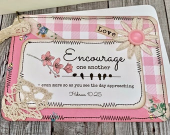 """Handmade Greeting Card - """"Encourage One Another"""" - Psalm 62:5 - Seeds of Faith - Vintage Collage Card - Greeting Card - Gifts - Faith"""