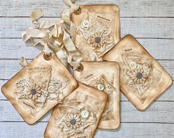 Set of 5 Handmade Journal-Gift Tags - Gift Tags - Handmade Tags - Altered Vintage - Coffee Stained Tag Set - Embellishments - Ephemera