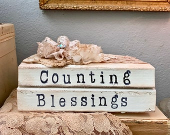 """Altered Vintage Book Bundle - Fall Book Bundle - """"Counting Blessings"""" - Fall Autumn Decor -  Vintage Decor - Stamped Book Stack - Gifts"""