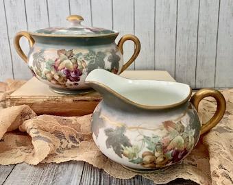 Vintage Empire China Grape Pattern Creamer and Covered Sugar Bowl - Numbered China - Empire China - Creamer and Sugar Set - Decor - Gifts