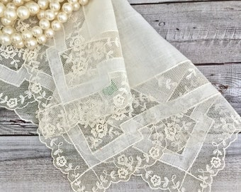 Vintage Pure Fine Linen Lace Handkerchief - Bridal Handkerchief - Lace Hanky - Linens - Heirloom Gifts - Handkerchiefs - Weddings - Gifts