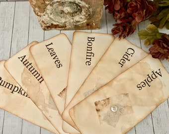Fall Themed, Vintage Inspired Flashcards - Embellished Flash Cards - Fall Flashcards - Journal Cards - Ephemera - Home Decor - Gifts