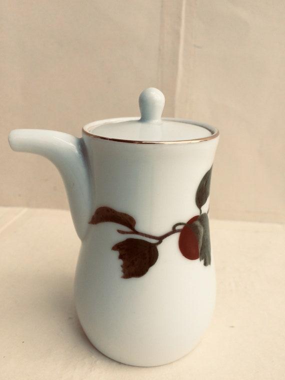 Vintage Japanese Fukagawa Arita porcelain dobin teapot with persimmon pattern