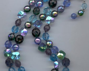 Beautiful 2-strand vintage necklace, certainly a Vogue: mostly blues, some greens