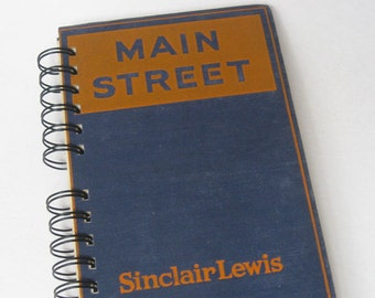 1921 MAIN STREET Handmade Journal Vintage Upcycled Book Vintage Novel
